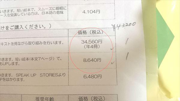 七田教室英語の教材費